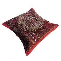 "16X16"" Indian Cotton Beaded Patch Work Decorative Pillow Case Cushion Cover 075 #Handmade #ArtDecorStyle"