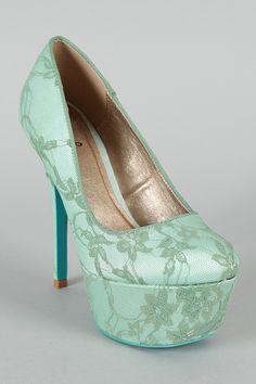 adorable mint shoes Qupid Psyche-35A Floral Lace Platform Pump