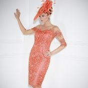 Coral Guipure Lace Dress with Sheer Mesh and Applique Sleeves