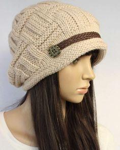 Beige Slouchy knitted Hat Cap Beanie