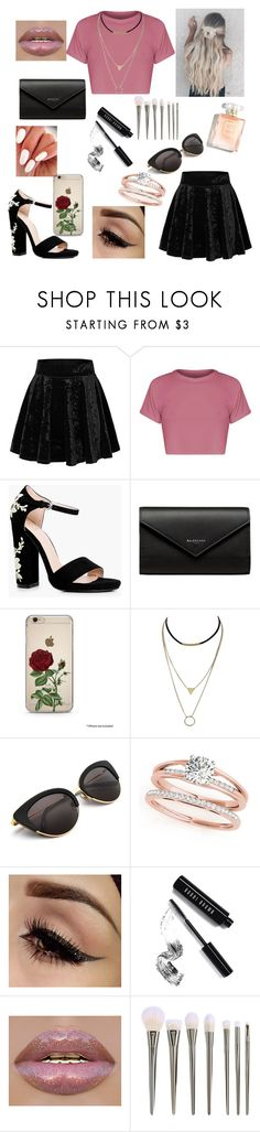 """""""Night Out"""" by zi-and-astro ❤ liked on Polyvore featuring Boohoo, Balenciaga and Bobbi Brown Cosmetics"""