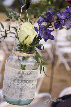 rustic, could hang near the cut garden bed and placed on the posts or hang with vintage hooks on the fence. Cut and place the flowers in and bring it inside for a quick vase!