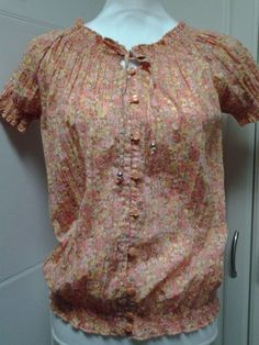 Art and Soul Peach Boho Peasant Hippie Crinkled Size Small Short Sleeve #ArtandSoul #Blouse #Casual