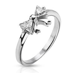 """""""Silver Bow – White Cubic Zirconia Bow Design Polished Stainless Steel Ring"""" Would make a cute promise ring."""