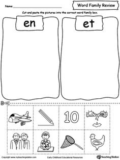 **FREE** Word Family Review Picture Sorting EN/ET Worksheet. Topics: Reading, and Word Families. #MyTeachingStation