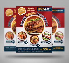 University Fast Food Flyer 3 Color by fatihakdemir on Creative Market Food Menu Design, Food Poster Design, Flyer Design, Banner Design, New Recipes, Real Food Recipes, Restaurant Specials, Restaurant Poster, Summer Chicken