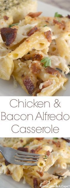 Chicken & Bacon Alfredo Casserole, a wonderfully comforting dish that has layers of Alfredo goodness. Comfort food at its best! [spon] #VivaBertolli