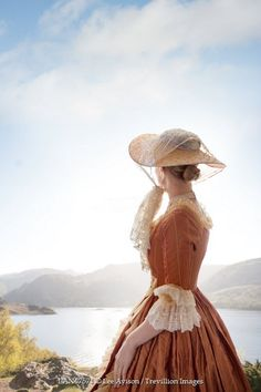 Lee Avison HISTORICAL WOMAN IN HAT BESIDE LAKE Women