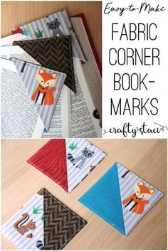 Quick Fabric Corner Bookmarks - Sewing patterns from other sides - Easy Sewing Easy Sewing Projects, Sewing Projects For Beginners, Sewing Hacks, Sewing Tutorials, Sewing Crafts, Sewing Tips, Sewing Ideas, Fabric Scrap Crafts, Fabric Sewing