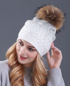 Rhinestones Rabbit fur knitted hat