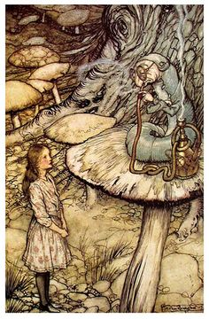 Arthur Rackham Alice in Wonderland The Rabbit Sends in a Little Bill painting is shipped worldwide,including stretched canvas and framed art.This Arthur Rackham Alice in Wonderland The Rabbit Sends in a Little Bill painting is available at custom size. Arthur Rackham, Art And Illustration, Book Illustrations, Lewis Carroll, Caterpillar Art, Alice In Wonderland Illustrations, Chesire Cat, Edmund Dulac, Fairytale Art