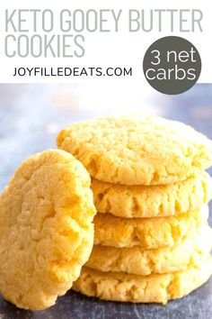 Keto Butter Cookies are sweet, chewy, buttery, and delicious! You can make gooey butter cookies with just 8 ingredients and 20 minutes. They are low carb, gluten-free, grain-free, and Trim Healthy Mama friendly too. Keto Dessert Easy, Dessert Recipes, Keto Desserts, Cookie Recipes, Keto Butter Cookies, Low Carb Deserts, Muffins, C'est Bon, Low Carb Recipes