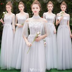 Bridesmaid Gowns Chic / Beautiful Grey Bridesmaid Dresses 2019 A-Line / Princess Appliques Lace Floor-Length / Long Ruffle Backless Wedding Party Dresses - Silver Bridesmaid Dresses, Grey Bridesmaids, Party Gowns, Wedding Party Dresses, Backless Wedding, Perfect Wedding Dress, Wedding Styles, Bridal Gowns, Lace Ruffle