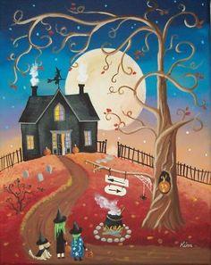 Halloween Witch Kids Dog Original Folk Art Print Kim   eBay