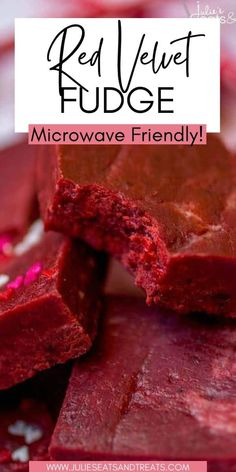 This super easy red velvet fudge recipe comes together in minutes in the microwave and melts in your mouth! It's the perfect addition to your Valentine's Day dessert spread. Festive and delicious and always a sweet treat anyone loves. Valentines Baking, Valentines Day Desserts, Vintage Valentines, Easy Red Velvet Fudge Recipe, Fudge Recipes, Dessert Recipes, Yummy Recipes, Tasty, Yummy Food