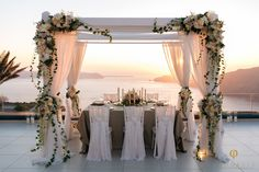 Sunset dinner for 5 Santorini Weddings, Wedding venue, Wedding ceremony and reception, Sunset view.