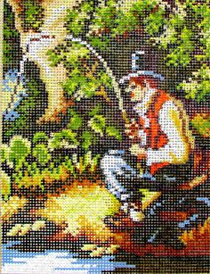 NEEDLEPOINT CANVAS// by Rico Goblain// A vintage Needlepoint of a Fisherman, Patiently Sitting and Fishing In the Lake. //Was (45.00) Now!