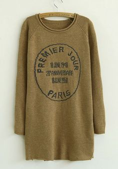 Coffee Letter Print Round Neck Cotton Blend Sweater