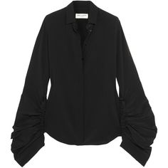Saint Laurent Ruched silk crepe de chine shirt (€835) ❤ liked on Polyvore featuring tops, saint laurent, button shirt, oversized shirt, oversized tops, silk button-down shirts and oversized button-down shirts