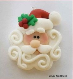 NEW Polymer Clay Swirly Beard Santa Pendant by michellesclaybeads Polymer Clay Ornaments, Fimo Clay, Polymer Clay Charms, Polymer Clay Projects, Polymer Clay Creations, Clay Crafts, Polymer Clay Jewelry, Dough Ornaments, Ornaments Ideas