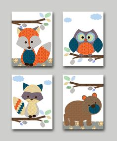 Owl Nursery Fox Nursery Bear nursery Baby Boy Nursery decor Childrens Art Print Baby Nursery Print Baby Wall Art set of 4 orange gray playroom decor   1739 1740 1741 1742  To return to my shop, click here: http://www.etsy.com/shop/artbynataera  *** UNFRAMED - THIS PRINT IS ON PAPER OR ON CANVAS ***  Set of 4 print in inches . Theres an extra 1/8 in. white border around the print to ease framing.IMPORTANT: This is a print made on matte photo paper that will need to be framed. ● SIZE FOR EACH…