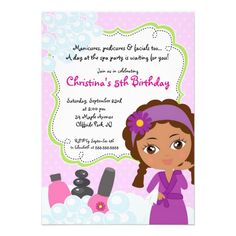 Cute Manicure  Day Spa Birthday Party Invitations