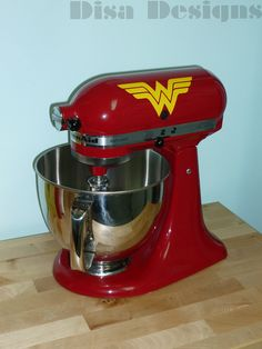 """Set of 2 Wonder Woman vinyl decals for the KitchenAid Stand Mixer - 2.4"""" x 5.5"""" - Mixer decal - KitchenAid decal - Stand Mixer decal $7.50"""