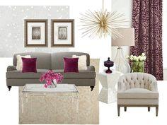 via BeSoStyle. Berry Design Concept by Patti Borrelli. #berry#plum#burgundy#white#gray#ivory#layers#texture#interiordesign