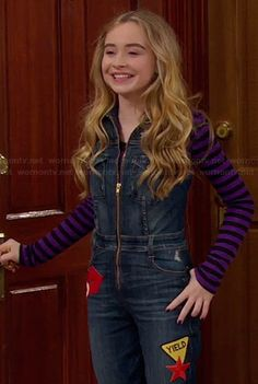 Maya's denim zip front jumpsuit and zebra patterned ankle boots on Girl Meets World.  Outfit Details: http://wornontv.net/35041/ #GirlMeetsWorld
