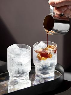 Ferm Living's Ripple Glassware combines contemporary design with old-time nostalgia. The glassware of Ferm Living's Ripple collection has been made by mouth-blowing glass into a mould – the result is… Best Espresso, Espresso Coffee, Iced Coffee, Coffee Tin, Coffee Latte, Black Coffee, Iced Tea, Coffee Drinks, Coffee Tables