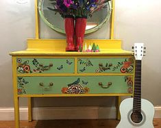 SOLD***********************Vintage upcycled hand painted dressing table. Vanity stand. Dresser. Mirror. Bohemian furniture.