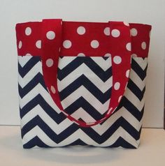 Polka Dot Red White and Blue Chevron Tote by WrapItUpByG on Etsy, $24.00