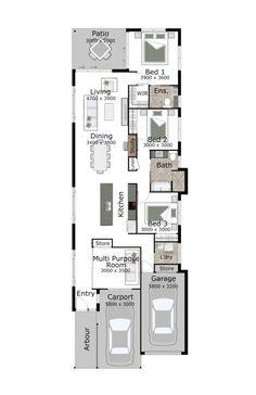 Single Story Narrow Lot House Plans | narrow house plans | Pinterest ...