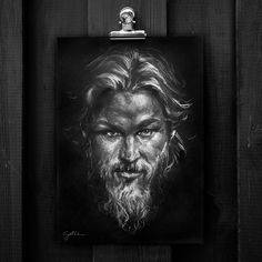 @gotthee #ragnarlothbrook # Travis Fimmel #viking #beard #pogonophile #portrait #drawing #mixedmediaart #pencil #pencildrawing #charcoal #art #myart