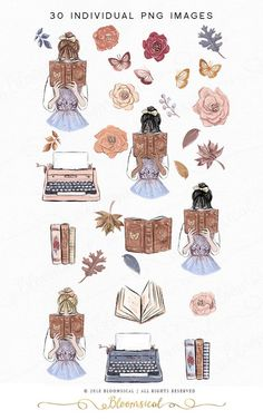Journal Stickers, Planner Stickers, Printable Stickers, Cute Stickers, Girl Reading Book, Homemade Stickers, Fairytale Fashion, Aesthetic Stickers, Illustration Girl