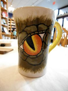 Dragon mug painted by customer at Color Me Mine Saucon Valley PA