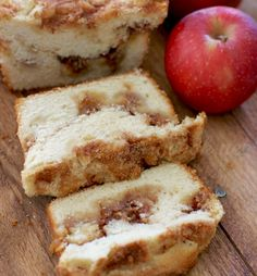 Apple Pie Bread is sweet and moist and has a layer of yummy brown sugar running through the center with chunks of fresh apples. So yum!