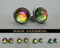 Magic Gathering Color Shifting Stainless / Surgical Steel Post Earrings by moonlightmine on Etsy Surgical Steel Stud Earrings, Color Magic, Magic The Gathering, Unique Colors, Stone Painting, Rainbow Colors, Stainless Steel, Hand Painted, Jewels