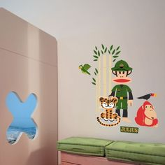 Become an interior decorator and create a unique personality and charm decor in your kids rooms with these unique Julius the Monkey in the safari vinyl wall stickers! This modern wall decal from Paul Frank wall art collection feature Julius the monkey with wild animals in a safari trip.$89.95