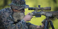 Jett M. Kack fires his Rifle during a known distance qualification at Hathcock Range, Camp Lejeune, N. Marine Recon, Marine Corps, Usmc Recon, Rifles, Camouflage Face Paint, Sniper Gear, Sniper Training, Camp Lejeune, Military Guns