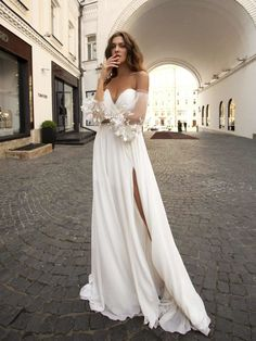 papilio 2019 bridal long bishop sleeves off the shoulder sweetheart neckline wrap over ruched bodice slit skirt romantic a line wedding dress medium train mv -- Papilio Light 2019 Wedding Dresses Slit Wedding Dress, Wedding Gowns, Boho Wedding, Cosmopolitan, Bridal Dresses, Bridesmaid Dresses, Bridal Collection, Occasion Dresses, Bridal Style