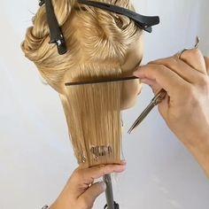 Hair Cutting Videos, Hair Cutting Techniques, Hair Videos, Braided Updo Tutorial, Point Cut Hair, Hair Cut Guide, Elegant Short Hair, Diy Hair Treatment, Silver Blonde Hair