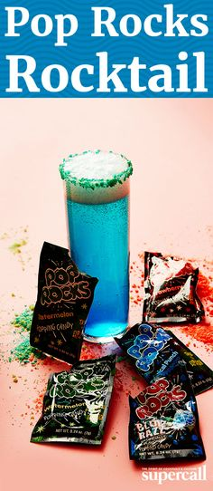 This brilliant, bright blue homage to our favorite candy nuggets is a sparkling take on a Blue Hawaii, made bubbly by prosecco and rimmed with Tropical Punch Pop Rocks.