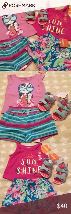 Gymboree girl 12-18 Month complete new set This set is awesome. The colors all match and the shoe sizes goes with the size of the clothes.  Pink tank top with little low ties at the shoulders and flower print soft shorts with stretchy waistband.  Purple tank top to go with the tripes watercolor shorts and a pair of sandals in light blue with pink accents. I got hear as a gift for my daughter and they do fit however it's winter in nj almost so I won't be getting to use these. The sandals…