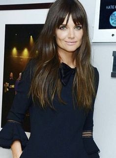 hair goals-katie holmes all grown up Hairstyles With Bangs, Pretty Hairstyles, Long Hairstyles With Fringe, Long Brunette Hairstyles, Long Hair With Bangs, Hair Bangs, Lob Bangs, Wispy Bangs, Hair 2018