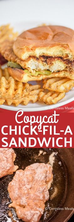 Copycat Chick-fil-A Sandwich recipe - CentsLess Meals Spicy Chicken Sandwiches, Chicken Sandwich Recipes, Gourmet Sandwiches, Dinner Sandwiches, Fried Chicken Sandwich, Baked Chicken, Copycat Recipes, Crockpot Recipes, Cooking Recipes