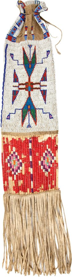 A SIOUX BEADED HIDE TOBACCO BAG. c. 1910... American Indian | Lot #50064 | Heritage Auctions