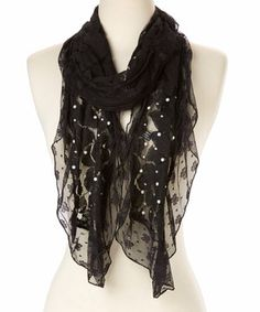 Look what I found on #zulily! Pretty Angel Black Floral Lace Linen-Blend Scarf by Pretty Angel #zulilyfinds