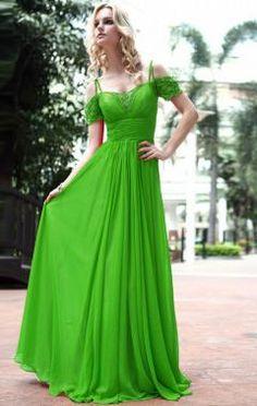 Chiffon A-line Sweetheart Long Prom Dress