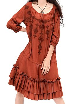 Copper Colored Embroidered Scoop Neck Half Sleeve Bohemian Style Dress #Copper #Rust #Bohemian #Style #Fall #Dress #Fashion #Outfit #Ideas